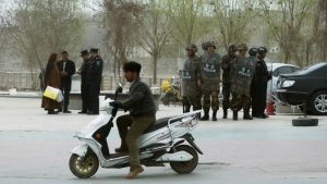 Security forces in Kashgar