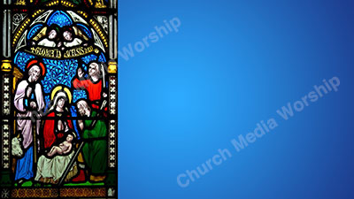 Christmas Stained Glass Blue Christian Worship Background. High quality worship images for use to spread the Gospel and enhance the worship experience.
