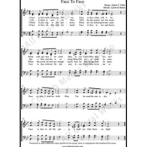Face to Face Sheet Music (SATB) Make unlimited copies of sheet music and the practice music.
