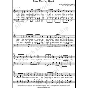 Give Me Thy Heart Sheet Music (SATB) Make unlimited copies of sheet music and the practice music.
