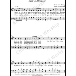 Hear us O Savior Sheet Music (SATB) Make unlimited copies of sheet music and the practice music.