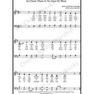 In Christ there is no east or west Sheet Music (SATB) Make unlimited copies of sheet music and the practice music.