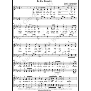 In The Garden Sheet Music (SATB) Make unlimited copies of sheet music and the practice music.
