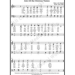 Join all the glorious names Sheet Music (SATB) Make unlimited copies of sheet music and the practice music.