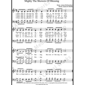 Mighty The Showers of Blessing Sheet Music (SATB) Make unlimited copies of sheet music and the practice music.