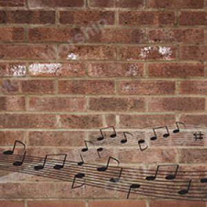 Musical notes across the page brick Christian Worship Background. High quality worship images for use to spread the Gospel and enhance the worship.