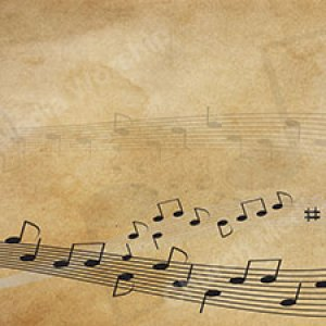 Musical notes across the page dark paper Christian Worship Background. High quality worship images for use to spread the Gospel and enhance the worship.
