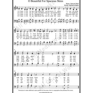 O Beautiful for Spacious Skies Sheet Music (SATB) Make unlimited copies of sheet music and the practice music.