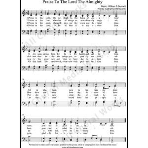 Praise to the Lord the almighty Sheet Music (SATB) Make unlimited copies of sheet music and the practice music.
