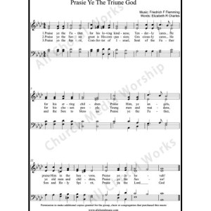 Praise ye the triune God Sheet Music (SATB) Make unlimited copies of sheet music and the practice music.