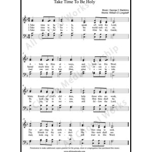 Take time to be holy Sheet Music (SATB) Make unlimited copies of sheet music and the practice music.