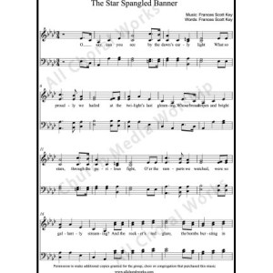 The star spangled banner Sheet Music (SATB) Make unlimited copies of sheet music and the practice music.