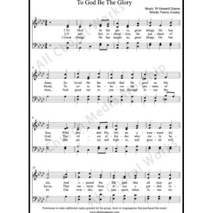 To God Be The Glory Sheet Music (SATB) Make unlimited copies of sheet music and the practice music.