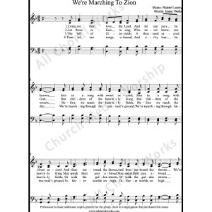 We're marching to Zion Sheet Music (SATB) Make unlimited copies of sheet music and the practice music.