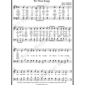 We three kings Sheet Music (SATB) Make unlimited copies of sheet music and the practice music.