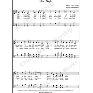 Silent night Sheet Music (SATB) Make unlimited copies of sheet music and the practice music.
