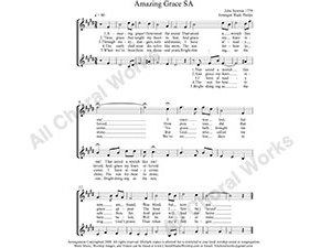 Amazing Grace Female Choir Sheet Music SA 2-part Make unlimited copies of sheet music and the practice music.
