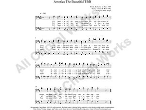 America The Beautiful Male Choir Sheet Music TBB 3-part Make unlimited copies of sheet music and the practice music.