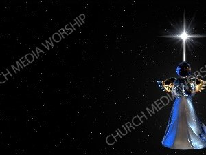 Angel Bringing a message starry sky Background Image Christian Worship Background. High quality worship images for use to spread the Gospel and enhance the worship experience.