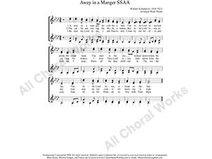 Away in a manger Female Choir Sheet Music SSAA 4-part Make unlimited copies of sheet music and the practice music.