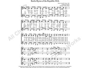 Battle Hymn Female Choir Sheet Music SSA 3-part Make unlimited copies of sheet music and the practice music.