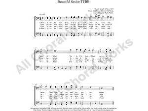 Beautiful Savior Male Choir Sheet Music TTBB 4-part Make unlimited copies of sheet music and the practice music.