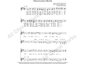 Christ Liveth in Me Female Choir Sheet Music SA 2-part Make unlimited copies of sheet music and the practice music.