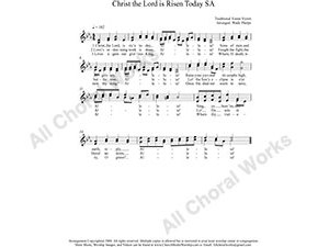 Christ the Lord is Risen Today Female Choir Sheet Music SA 2-part Make unlimited copies of sheet music and the practice music.