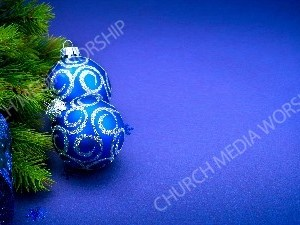 Christmas blue bulbs silver glitter evergreen ribbon Christian Worship Background. High quality worship images for use to spread the Gospel and enhance the worship experience.