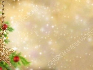 Christmas tree ornament Gold star Christian Worship Background. High quality worship images for use to spread the Gospel and enhance the worship experience.