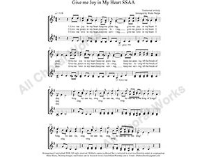 Give me Joy in my heart Female Choir Sheet Music SSAA 4-part Make unlimited copies of sheet music and the practice music.