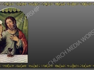 Golden Frame Communion Painting Platinum Christian Worship Background. High quality worship images for use to spread the Gospel and enhance the worship experience.