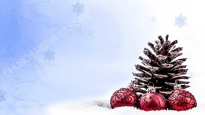 Golden Pine Cone red bulbs with glitter blue snowflake Christian Worship Background. High quality worship images for use to spread the Gospel and enhance the worship experience.