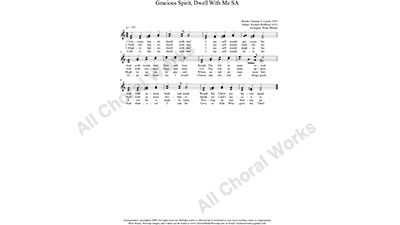 Gracious Spirit Dwell With Me Female Choir Sheet Music SA 2-part Make unlimited copies of sheet music and the practice music.
