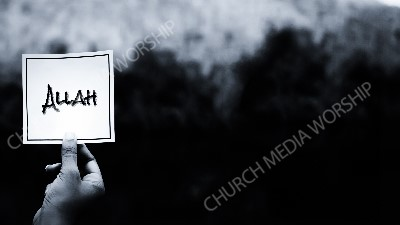 Hand holding note BandW - Allah Christian Worship Background. High quality worship images for use to spread the Gospel and enhance the worship experience.