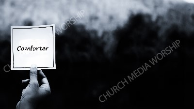 Hand holding note BandW - Comforter Christian Worship Background. High quality worship images for use to spread the Gospel and enhance the worship experience.