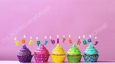 Happy Birthday cupcakes with candles pink matte Christian Worship Background. High quality worship images for use to spread the Gospel and enhance the worship experience.