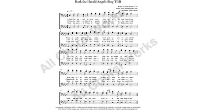 Hark the Herald Angels Sing Male Choir Sheet Music TBB 3-part Make unlimited copies of sheet music and the practice music.