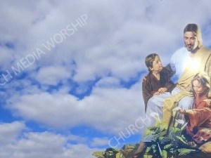 Jesus Caring for Child With Clouds Christian Worship Background. High quality worship images for use to spread the Gospel and enhance the worship experience.
