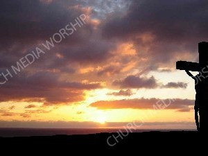 JesusCrossSunset-silhouette Christian Worship Background. High quality worship images for use to spread the Gospel and enhance the worship experience.