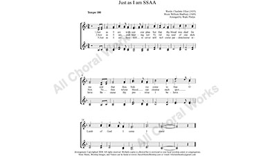 Just as I am Female Choir Sheet Music SSAA 4-part Make unlimited copies of sheet music and the practice music.