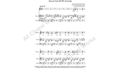 Just as I am with Piano Female Choir Sheet Music SA 2-part Make unlimited copies of sheet music and the practice music.