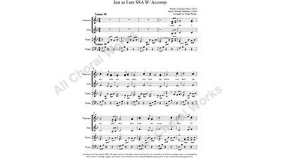 Just as I am with Piano Female Choir Sheet Music SSA 3-part Make unlimited copies of sheet music and the practice music.
