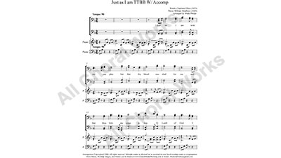 Just as I am with Piano Male Choir Sheet Music TTBB 4-part Make unlimited copies of sheet music and the practice music.