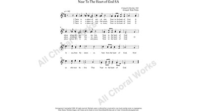 Near To The Heart of God Female Choir Sheet Music SA 2-part Make unlimited copies of sheet music and the practice music.