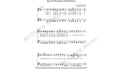 Near To The Heart of God Female Choir Sheet Music SSAA 4-part Make unlimited copies of sheet music and the practice music.