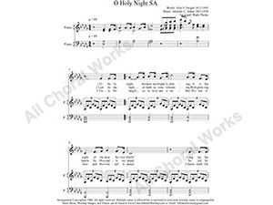 O Holy Night with Piano Female Choir Sheet Music SA 2-part Make unlimited copies of sheet music and the practice music.