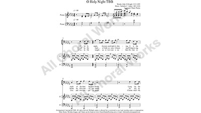 O Holy Night with Piano Male Choir Sheet Music TBB 3-part Make unlimited copies of sheet music and the practice music.
