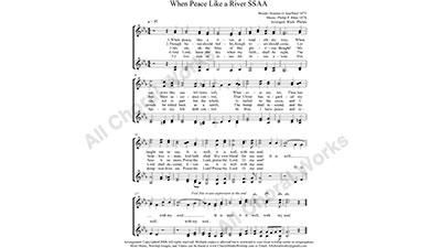 Peace like a River Female Choir Sheet Music SSAA 4-part Make unlimited copies of sheet music and the practice music.