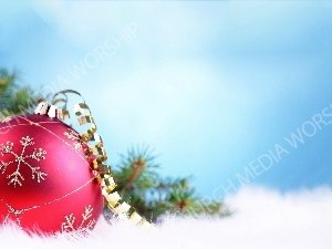 Red Christmas Ball blue winter sky Christian Worship Background. High quality worship images for use to spread the Gospel and enhance the worship experience.